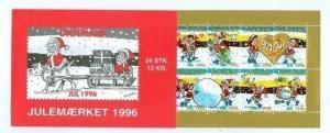 Denmark.  Booklet  1996  Christmas Seals  Mnh.  Santa's In The Snow.