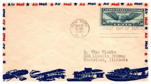 United States, New York, First Day Cover, Winged Globes