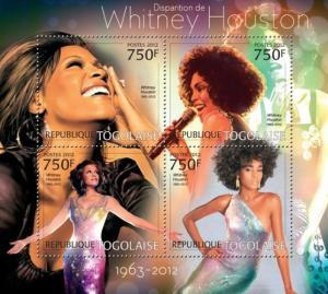 Togo MNH S/S Whitney Houston Singer 2012 4 Stamps