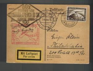 1931 Bodensee Germany DOX First Flight Postcard Cover to USA via Brazil