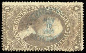 B635 U.S. Revenue Scott #R84c $2.50 Inland Exchange blue 1867 handstamp cancel