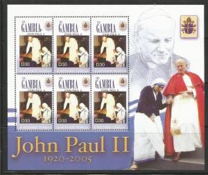 GAMBIA 2961, MNH, SHEET OF 6, POPE JOHN PAUL II & MOTHER TERESA