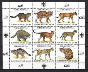 Turkmenistan, 1999 Russian Local. Wild Cats sheet of 9.  Scout Logo