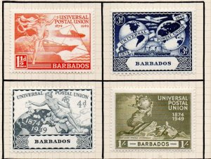 Barbados Sc 212-15 1949 UPU Anniversary stamp set mint