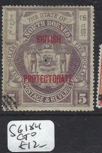 NORTH BORNEO   (P2704B)  $5.00  BP ARMS, LION  SG 184  CTO
