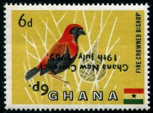 HERRICKSTAMP GHANA Sc.# 220 Bird Inverted Overprint NH