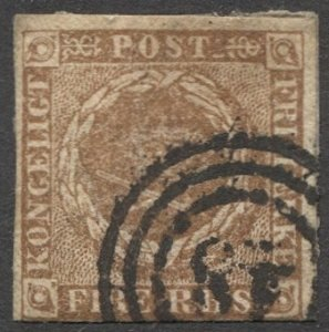 DENMARK 1851 Sc 2b yellow brown, 4rs Imperf Used F, Numeral 48 'Nykjobing'