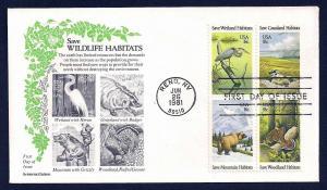 UNITED STATES FDC 18¢ Habitats blk 1984 Aristocrat