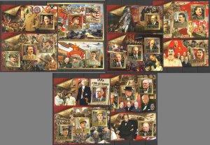 XZ0023-28 2015 BENIN HITLER STALIN CHURCHILL WORLD WAR II LEADERS 6KB+6BL MNH