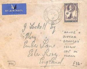 NIGERIA *Oshogbo* 6d Rate KGV Airmail *Akure* CDS Cover Esher Surrey 1937 AK147