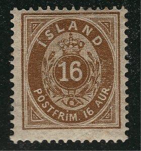 Iceland Signed Sc#12 Mint OG Hinged F-VF SCV $125...powerful bargain!!
