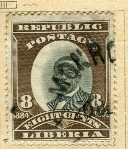 LIBERIA; 1892 early Pictorial issue fine used 8c. value