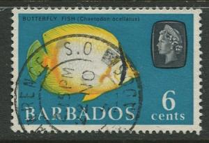 Barbados - Scott 272- QEII Pictorial Definitives  - 1965 -Used -Single 6c Stamps