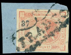 MEXICO 1872 Hidalgo 25c red Watermarked - SALTILLO - 37 72 consg. Sc# 83 used VF
