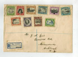 1950 Niue cover to New Zealand # 73-75 53-58
