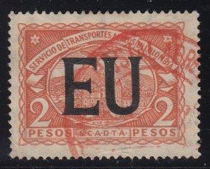 Colombia SCADTA 1923 EU (US) Consular Overprint 2p Red Orange Used. Scott CLEU58