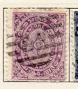 Travancore 1899-1901 Early Issue Fine Used 1/2ch. 322511