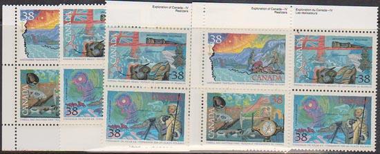 Canada USC #1236a Mint MS Imp. Blocks Cat. $16. 1989 38c Exploration of Canada