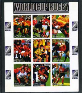 TADJIKISTAN 1999 Rugby World Cup Sheet (9) Imperforated mnh.vf