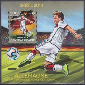 2014 Central African Republic 4864/B1185 2014 FIFA World Cup Brazil 14,00 €