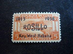 Stamps - Cuba - Scott# C30, Mint Hinged single overprinted Stamp