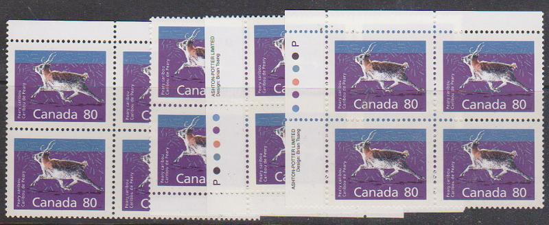Canada - 1990 80c Perry Caribou Imprint Blocks VF-NH #1180