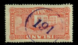 ICELAND NUMERAL CANCEL #191 in purple on 20aur Landscape, VF