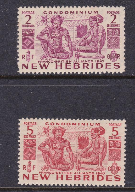 New Hebrides x the 2 high values MNH from the 1953 set