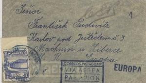 Paraguay 1G Birthplace of Paraguay's Liberation c1947 Airmail to Machnin u Li...