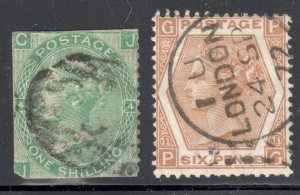 Great Brittain #54, 59 Used --- WMK#25 --PLATE 11   C$55,00 - Special cancel  Lo