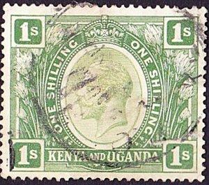 KENYA & UGANDA 1922 KGV 1/-  Green SG87 Used