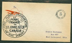 NEWFOUNDLAND, 1931, Unflown, First Flight St. Pierre France to St. Johns w/label
