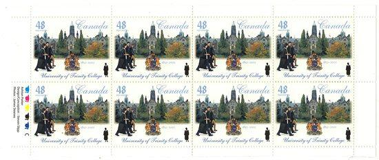 Canada USC #1943a Year 2002 - Trinity College Pane of Eight - Face Alone $3.84