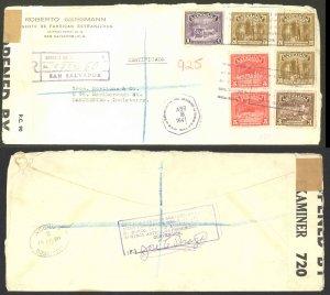 El Salvador Sc#574-582 Censored San Salvador>Manchester 1941 4.8 Coat of Arms