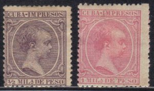 CUBA SC# P13+P20  **MH** 1894  NEWSPAPER STAMPS   SEE SCAN