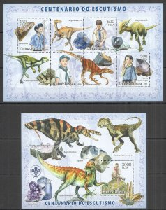 BC1372 2006 GUINEA-BISSAU DINOSAURS & MINERALS CENTENARY SCOUTING KB+BL MNH