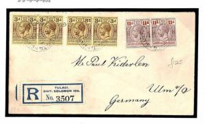 SOLOMON ISLANDS KGV Cover Registered *Tulagi* Scarce Franking GERMANY 1913 W444a