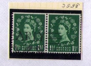 Great Britain Sc #355c Pair Used Black Graphite Lines On Back VarietyCV $185