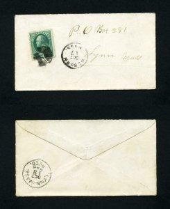 # 207 on cover from Woburn, Massachusetts to Lynn, Massachusetts - 10-17-1880's