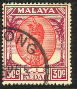 MALAYA KEDAH 1950-55 30c SULTAN TUNGKU BADLISHAH Issue Scott 75 VFU