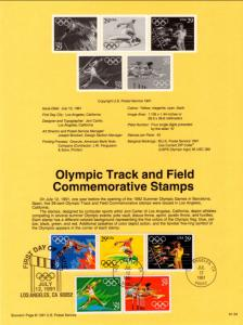 US SP961 Olympic Track and Field 2553-2557 Souvenir Page FDC