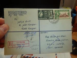 Sarawak Reg Cover Lutong QEII stamps 1958 (36beh)