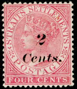 MALAYSIA - Straits Settlements SG61, 2c on 4c rose, UNUSED. Cat £80.