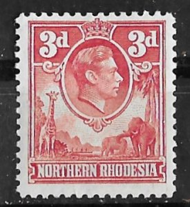 Northern Rhodesia # 35 Geo.VI  Definitive 3d. Red   (1) VF Unused