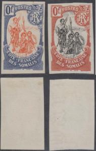 FRANCE SOMALI COAST 1902 WARRIORS TWO IMPERF ESSAYS 0F. VALUE, ONE WATERMARKED