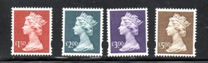 Great Britain Sc MH280-83 1999 High Value  QE II Machin Head stamps mint NH