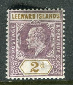 LEEWARD ISLANDS; 1902 early Ed VII issue fine Mint hinged 2d. value, Shade