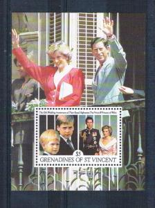 St Vincent - Grenadines 777 MNH SS 10th wedding aniversary 1991 (S0901)