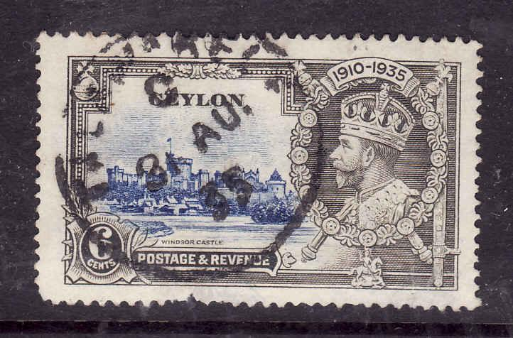 Ceylon-Sc#260-used dated KGV-6c Silver Jubilee-31 Au 1935-