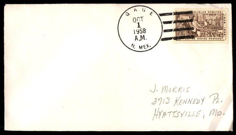 Gage New Mexico Oct 1 1958 4 Mark Cancel On Cover To Hyattsville Maryland